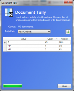 Tally Document Dialog